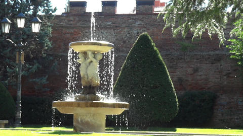 Stone fountain arranged in an old castle park 3 Footage