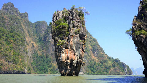 James Bond rock in the Phang Nga Bay in 4 K Footage