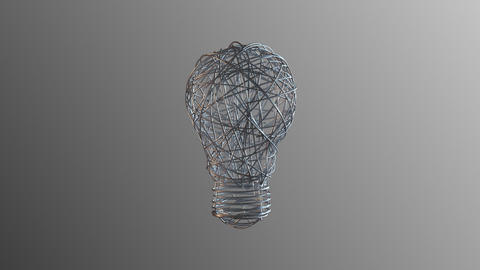 Abstract light bulb from wire. In Ultra HD 4k Live Action