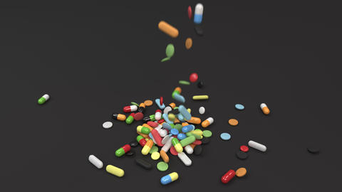 Pile of colorful medicine pills falling on table Animation