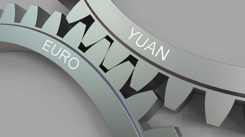 YUAN and EURO words on meshing gears. Forex conceptual animation Live Action
