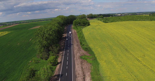 Aerial view Car Trafic on Country Road Footage