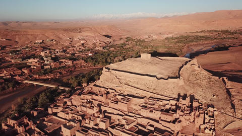 Aerial view on Kasbah Ait Ben Haddou in Morocco Footage