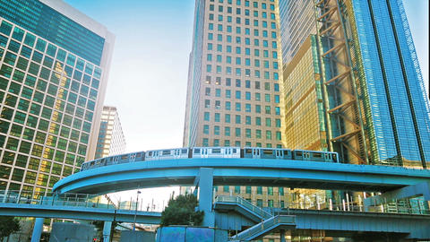 Monorail train rides among the skyscrapers in the center of Tokyo Footage