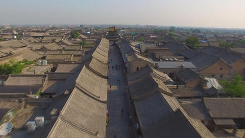 Morning view of ancient City of Ping Yao (UNESCO World Heritage site). A famous Footage