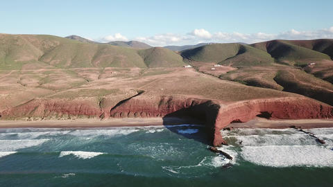 Aerial view of Legzira beach with arched rocks Live Action