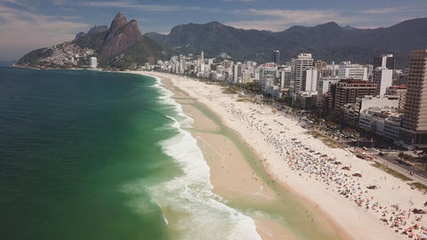 Aerial view of famous Copacabana Beach and Ipanema beach in Rio de Janeiro, Live Action