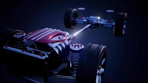 car chassis with engine and wheels Footage