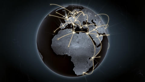 Growing network connections around the world. Global network, internet concept Animation