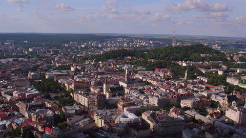 Aerial Old City Lviv, Ukraine. Central part of old city. European City. Densely Live Action