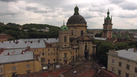 Aerial Old City Lviv, Ukraine. Central part of old city. European City. Lviv Live Action