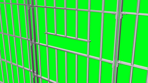 Animation of opening and closing the prison lattice side view on a green CG動画素材