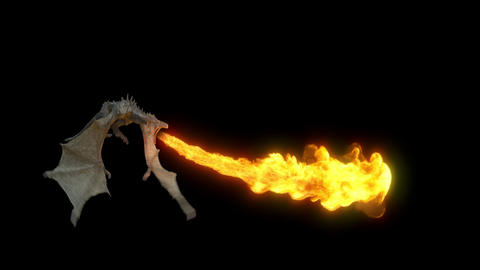 The Dragon flying and breathing flame. Loop with Alpha channel Animation