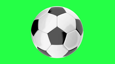 Rotating Soccer ball looped animation on a green background CG動画素材