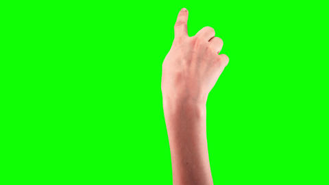 Girl hand gestures on a touchscreen set pack 21 in 1, Green screen clean alpha Footage