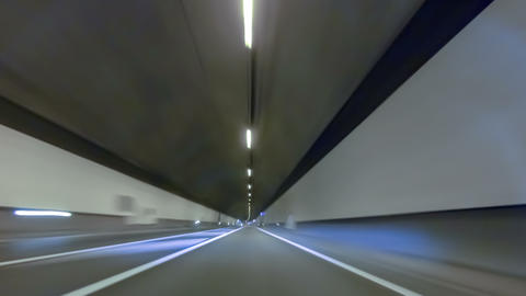 Fast driving by a tunnel.Vehicle shot with preponderance up Footage