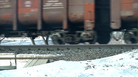 Wheels of a passing freight train Footage