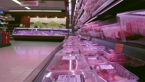 Meat On Dislpay In Supermarket Live Action