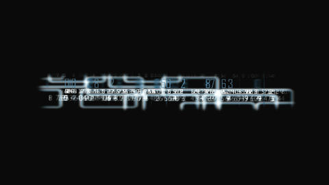 An abstract animated loop of glowing boxes with a futuristic number-text overlay Live Action