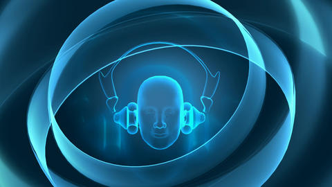 An abstract head model wearing headphones with a blue abstract motion background Footage