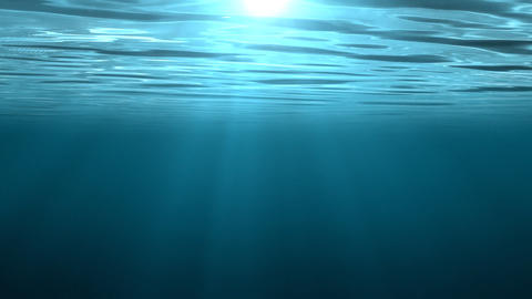 Animation of an underwater scene with sunlight shining Stock Video Footage
