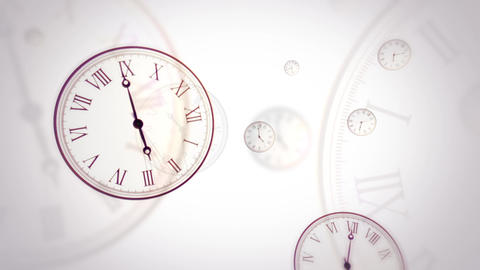 Flying clocks with fast changing time on white background. Looped 画像