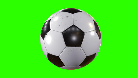 Set of 3 Videos. Beautiful Soccer Ball Rotating in Slow Motion on Green Screen Footage