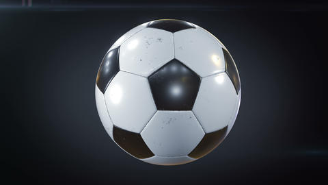 Set of 3 Videos. Beautiful Soccer Ball Rotating in Slow Motion on Black with Footage
