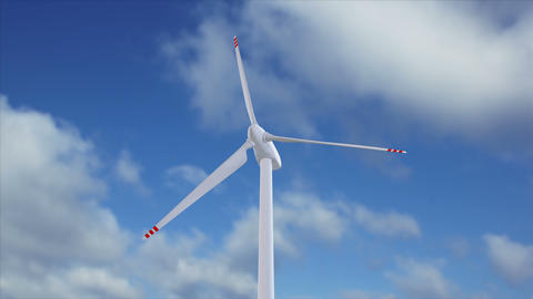 Wind generator on a background of a cloudy sky Animation