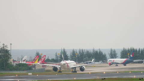 Airplanes taxiing after landing Footage