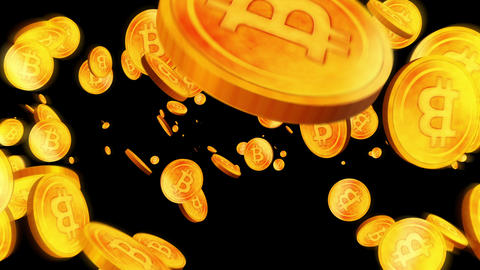 Rotating Many Bitcoins on Black Background, Virtual Money Golden Coins Animation