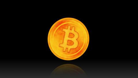 Rotating a Bitcoin on Black Background, Virtual Money Golden Coin Animation