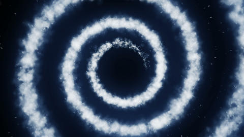 Abstract White Smoke on a Black Background, Aerial Cloud in the Air Animation