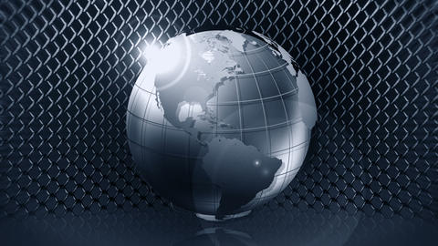 Metallic Earth Sphere with Wire Fence, CG Animation, Loop CG動画素材
