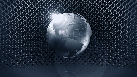 Metallic Earth Sphere with Wire Fence, CG Animation, Loop Animation