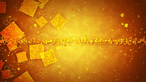 Gold Glitter Background with Traditional Japanese Loop Patterns Animation