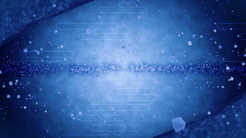 Blue Glitter Background with Traditional Japanese Loop Patterns Animation