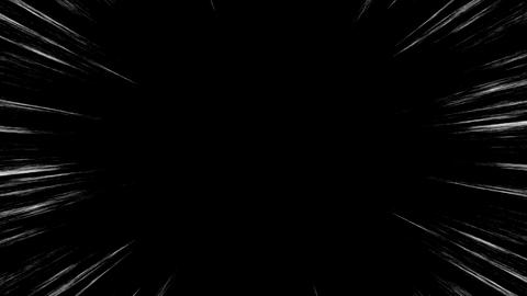 Loop Animation of Comic Speed Lines, Manga Frame Style, Black Background Animación