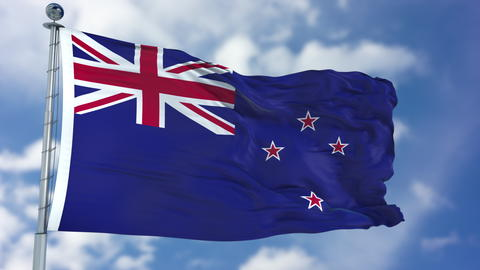 New Zealand Flag in a Blue Sky フォト