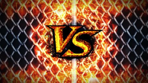 Versus Fight on Metal Background, VS on Spark Fire, CG Animation, Loop Animation