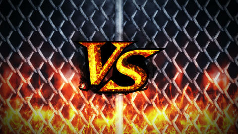 Versus Fight on Metal Background, VS on Spark Fire, CG Animation, Loop Animation