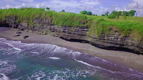 stunning beautiful aerial sea and beach landscape view shot with drone above the Footage