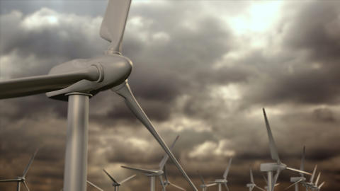 Wind generators farm against a storm sky Animation