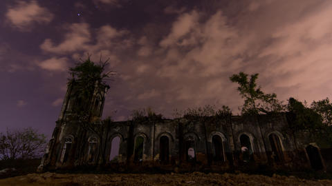 Timelapse Exterior of abandoned Church of the Sacred Heart of Jesus Live Action