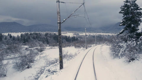 Train In winter Mountains Footage