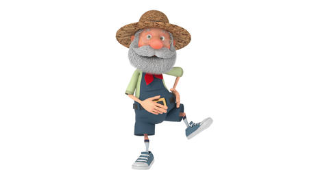 3D illustration the elderly farmer moves outdoors with a smile Animation