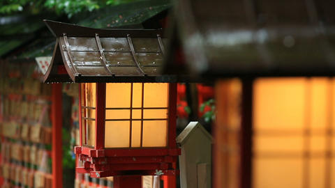 Japanese temple lanterns in rainy weather ライブ動画