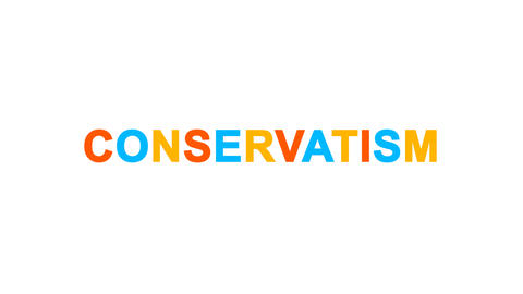 political system CONSERVATISM from letters of different colors appears behind Animation