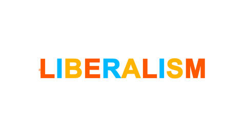 political system LIBERALISM from letters of different colors appears behind Animation