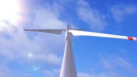 Wind generator on a background of a sunny sky Animation